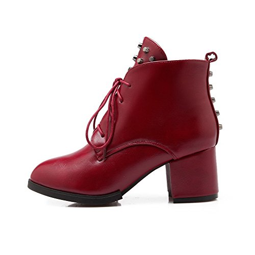Solid Heels Claret Kitten Boots Toe up Low Top WeenFashion Pointed Closed Women's Lace SZTRtT