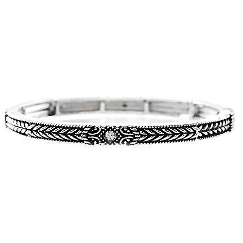 (Emulily Designer Texture Antique Silver Stackable Stretch Bracelet (Crystal))