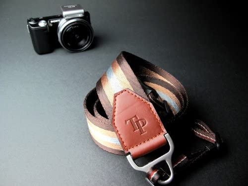 Luxury real leather+thick nylon+metal camera strap neck strap for DSLR EVIL FILM camera brown