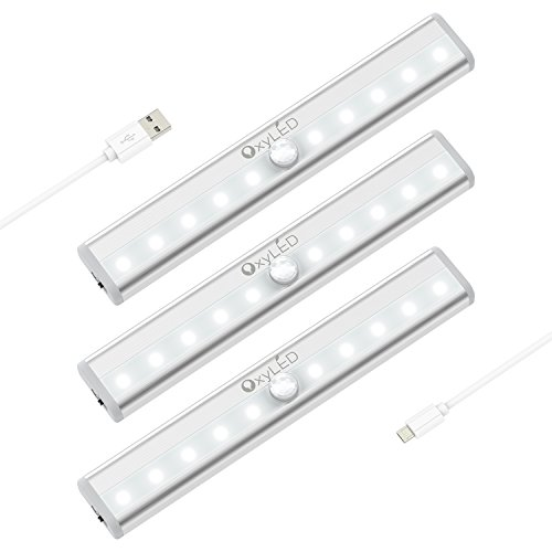 OxyLED T-02-c-3pack-white USB Rechargeble Motion Sensor Closet Lightening, Stick-on Cordless 10 LED Night Bar, Indoor Step Safe Lights for Cabinet Wardrobe Stairs, 3 Pack, White