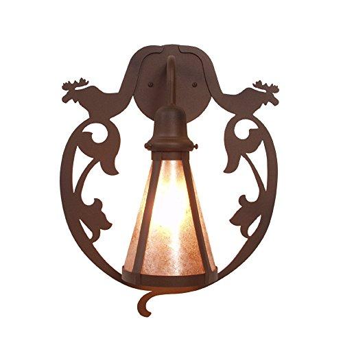 Steel Partners Lighting BAV2255-B BAVARIAN MOOSE Wall Sconce with Amber Mica Lens, Black Finish