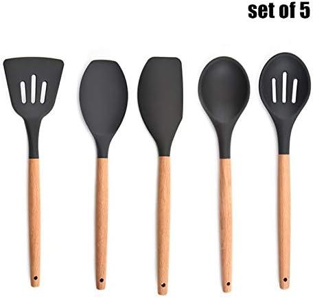 K/üchenutensilien-Set 13-teiliges Set Kochschaufel Spachtel Holzgriff Kochwerkzeug L/öffel Kegiit Silikon-K/üchengeschirr-Set Antihaftbeschichtung