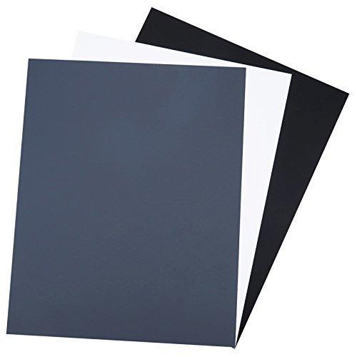 JJC 10 x 8 Inch Universal White Card + Black Card + 18% Neutral Grey Card for Camera Color Balance