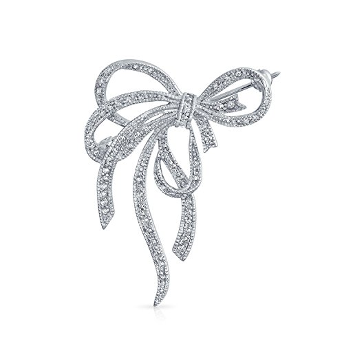 (Bling Jewelry Large Fashion Statement Ribbon Pave Cubic Zirconia Wedding Bow Brooch Pin for Women Silver Plated Brass)