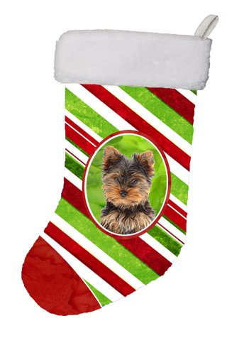 Caroline's Treasures Candy Cane Holiday Christmas Yorkie Puppy/Yorkshire Terrier Christmas Stocking, 11 x 18