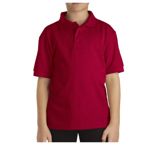 Dickies Men's Short Sleeve Pique Polo, English Red, Medium