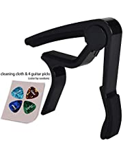 Guitar Picks Guitar Capo Acoustic Guitar Accessories Capo Key Clamp Black With Free 6 Pcs Guitar Picks and Leather Guitar Picks Holder