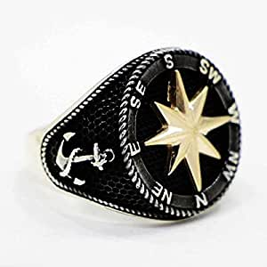 Men's Navy Compass Ring Made of 925 Sterling Silver