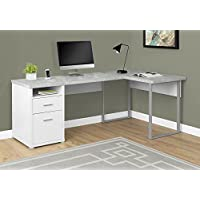 Monarch Specialties I 7258 Computer Desk Left or Right Facing White / Cement-Look 80L