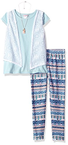 Youngland Big Girls' Top, Legging, Vest and Accessory 3-Piece Outfit, Blue/Multi, 12