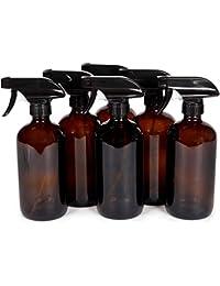 6, Large, 16 oz, Empty, Amber Glass Spray Bottles with Black Trigger Sprayers