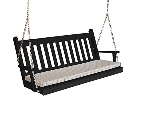 Wood Porch Swing, Amish Outdoor Hanging Porch Swings, Patio Wooden 2 Person Seat Swinging Bench, Classic Front Porches Furniture, Outside Furnishings, 5 Foot, Traditional English (Black)