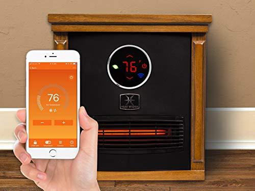 Heat Storm HS-1500-ISMW Infrared WiFi Cabinet Heater, Light Oak