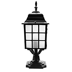 ZHMA Garden Lights, Outdoor Decorative Columns Post Lamp Retro Waterproof Landscape Lighting Fixtures villa garden lights , Black 1-Light E26/27 Base