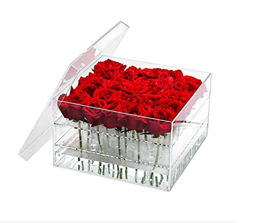 - Arcylic Rose Box, Flower Water Holder Pot with Clear Lid, Removable 2 Tiers Panel - Valentine's Day, Mother Day, Anniversary, Birthday Gift, 25 Hole