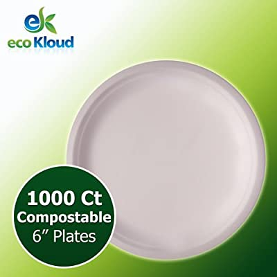 "eco Kloud 6"" Compostable Plate Bagasse Sugarcane"