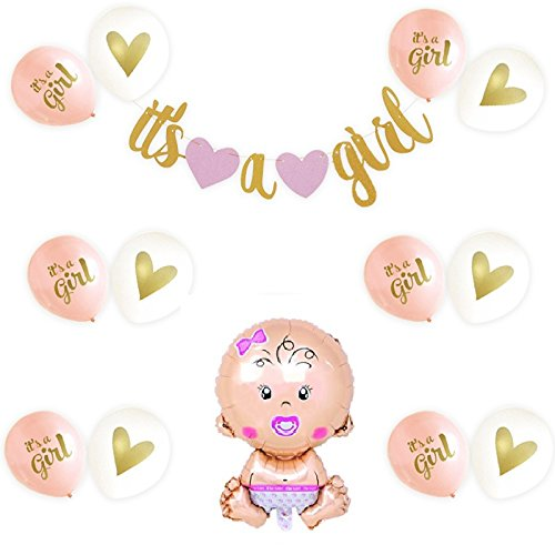 Baby Shower Decorations for Girl - w/Glitter Strung Banner (ITS A GIRL) & 12PC Balloons [Pink, Gold, White] 1PC Baby Balloon Hang on Wall, Kit Set |Party Supplies|