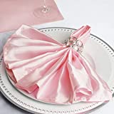Efavormart 20''x20'' Blush Wholesale Satin Linen Napkins for Wedding Birthday Restaurant Party Tableware Decoration - 5 PCS