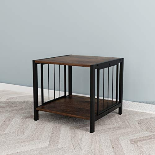 - Vintage Brown Finish 2-Tier Side End Table