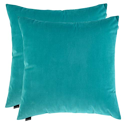 "Artcest Set of 2, Cozy Solid Velvet Throw Pillow Case, Decorative Couch Cushion Cover, Soft Sofa Euro Sham with Zipper Hidden, 16""x16"" (Light Teal)"