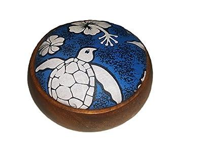 "Hawaiian Style Wood Sewing Pin Cushion Turtle Honu 4"" x 4"" x 1.5"" Blue by Islander"