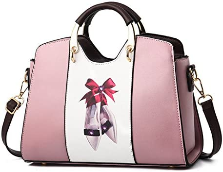 Frauen Leder Handtaschen Schultertasche Frauen Casual Einkaufstasche Weibliche Patchwork Handtaschen Damen Handtaschen Pink 28X19X11