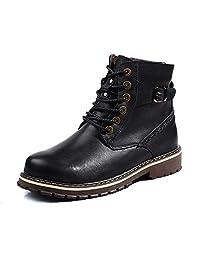 GLSHI Hombres Británico Martín Botas Invierno Felpa Calentar Algodón Alto Zapatos Cuero Botas