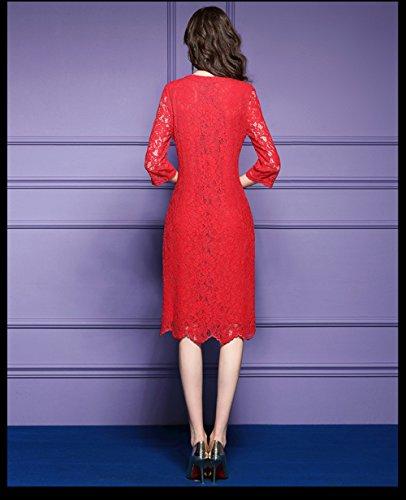 Cotylédons Women`s Robes De Dentelle Slim Fit Col Rond Manches 3/4 Un Rouge Robe De Ligne