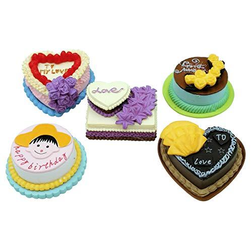 EMiEN 5PCS Dollhouse Pretend Play Food Birthday Cakes Kits for Dollhouse Room Decoration