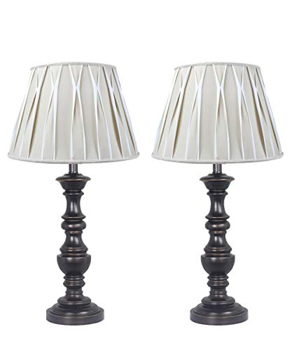 Beige/White Pinched Pleat Shantung Shade with Classic Turned Table Lamp Set of 2 Antique Bronze Finish
