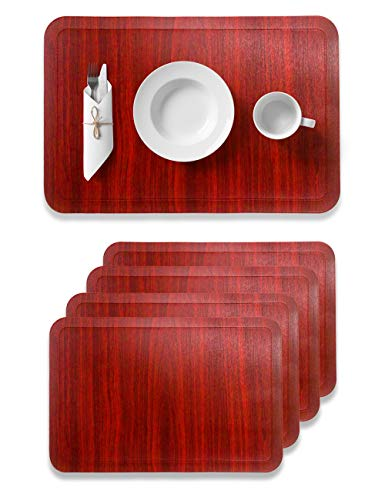 Alpiriral Dining Table Place Mats Set of 4 Heat Resistant Place Mats Easy to Wipe Off Scrub & Non Skid Vinyl Place Mats Washable Table Mats Protect The Table from Messes & with A Nice Looking in RED