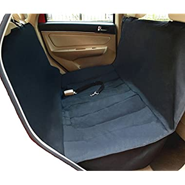 NAC&ZAC Deluxe Waterproof Pet Seat Cover With Bonus Pet Car Seat Belt for Cars and SUV -Nonslip, Quilted, Extra Side Flaps, Machine Washable Pet Hammock Car Seat Cover,
