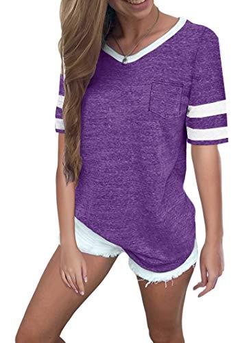(Twotwowin Women's Summer Tops Casual Cotton V Neck Sport T Shirt Short/Long Sleeve Blouse (Purple, XX-Large))