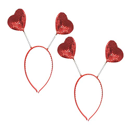 GREATLOVE 2pcs Red Love Heart Shaped Sequin Headband Valentine's Day Hair Hoop Hair Loop Hair Clasp Hair Band Hair Accessories Dress Accessories for Girl
