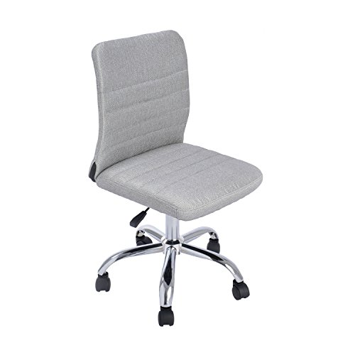 GreenForest Ergonomic Mid Back Armless Adjustable Chair with Fabric Upholstery, Grey