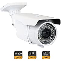 GW Security 5MP 2592 x 1920 Pixel Super HD 1920P High Resolution Network PoE 1080P Security Bullet IP Camera with 2.8-12mm Varifocal Zoom Len and 72Pcs IR LED up to 196FT IR Distance