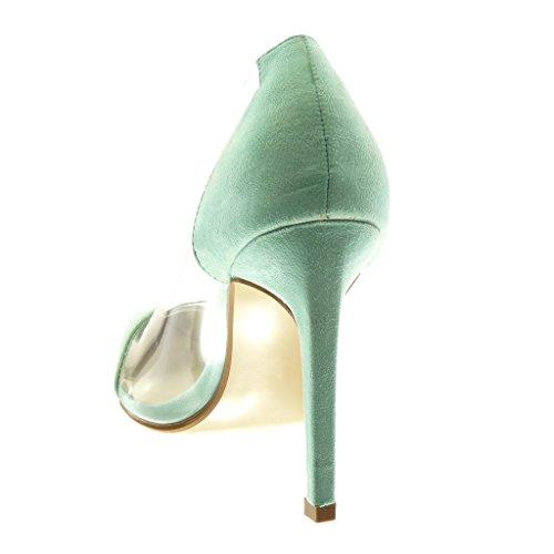 Decollete Slip Alto 5 10 Tacco Moda Decollete Stiletto cm on Trasparente Verde Acqua Stiletto Tacco Angkorly Scarpe Donna con x0qFwqXC