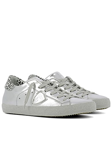 PHILIPPE MODEL FEMME CGLDML01 ARGENT CUIR BASKETS