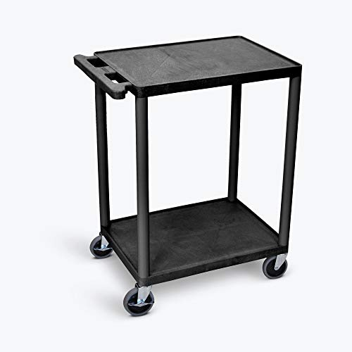 (LUXOR HE32-B Utility Cart with Swivel Casters, 2 Shelves, Black)