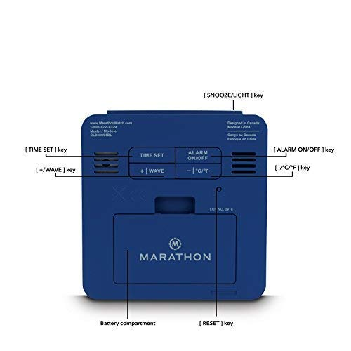 Marathon CL030054BL Clock, With Backlight, & Batteries Included