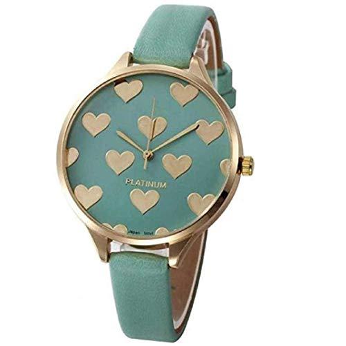 TOPOB Analog Quartz Wristwatch for Women Leather Analog Quartz Wristwatch with Stainless Steel Heart Pattern Dial (Green)