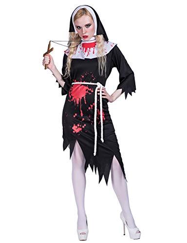 JJ-GOGO Nun Halloween Costume - Sexy Adult Spirit Festival Zombie Bloody Nun Costumes for Women]()