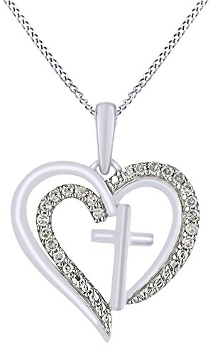 White Natural Diamond Heart Cross Pendant Necklace In 14K White Gold Over Sterling Silver  0 1 Cttw