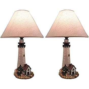 Resin table lamps cape hatteras black and white striped lighthouse metal resin table lamps house on the shore decorative lighthouse table lamp set of 2 aloadofball Choice Image