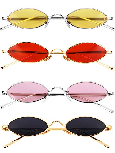 4 Pairs Vintage Oval Sunglasses Slender Small Metal Frames Upgraded Nose Pads Gothic Glasses Candy Colors for Men and ()