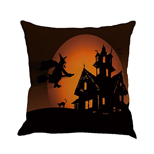 PgojuniHappy Halloween Pillow Cases Linen Square Pillow Cover Decorative Cushion Pillow Cushion Cover 1pc (C)