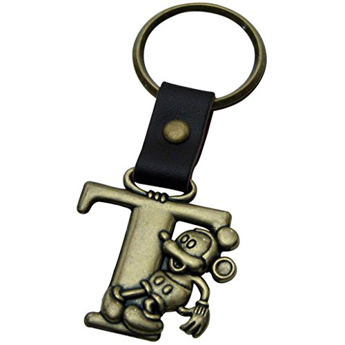 1 X Mickey Mouse Letter T Brass Key Chain
