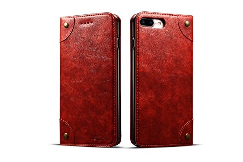 (Case Compatible with iPhone 8p/7p Apple Wallet,Red Leather Retro Texture Folio Card Holder Kickstand Protective Durable Cover Shell for Men Boy Women Girl)