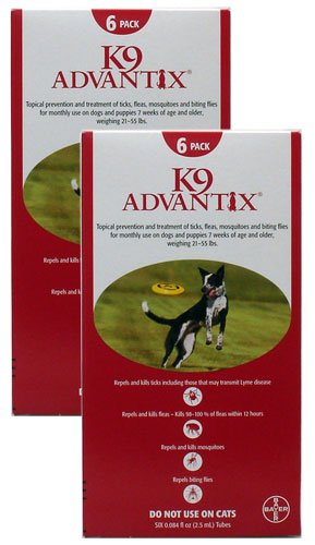 12 MONTH K9 ADVANTIX Red (for dogs 21-55lbs), My Pet Supplies