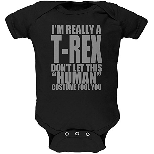 [Halloween Human T-Rex Costume Soft Baby One Piece Black 9-12 M] (Trex Baby Costumes)